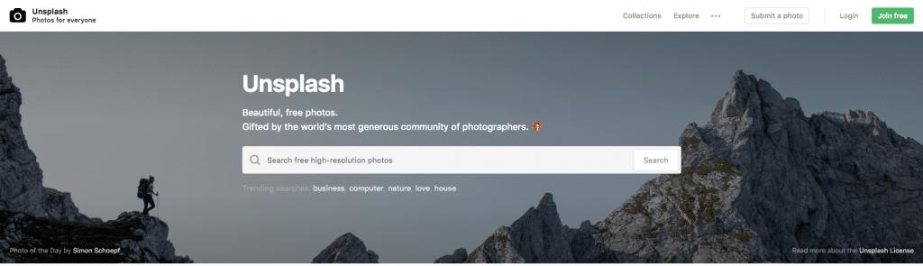 Unsplash images gratuites